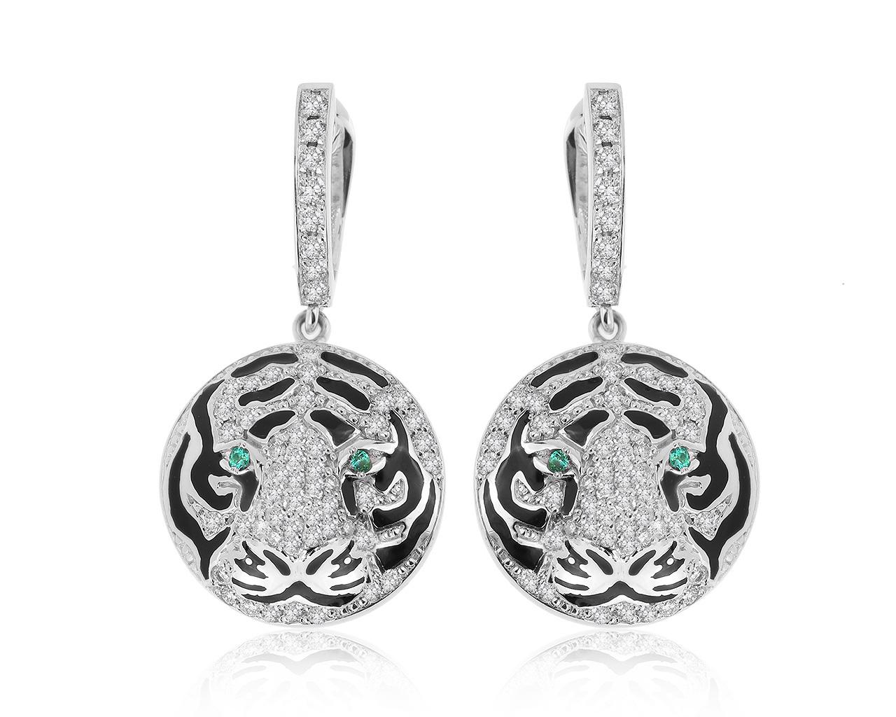 Завораживающие золотые серьги с бриллиантами 1.24ct купить в интернет-магазине Mister Diamond, цена 154 500 ₽